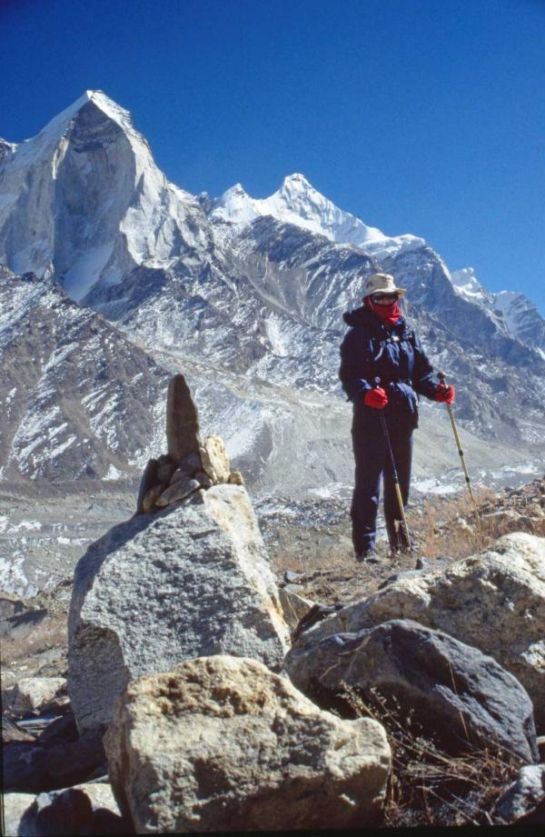 Photo of Julia beside the Gangotri Glacier