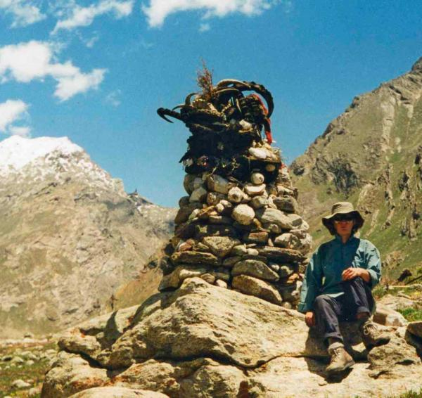 Photo of Cairn with goat's horns, Miyar Valley