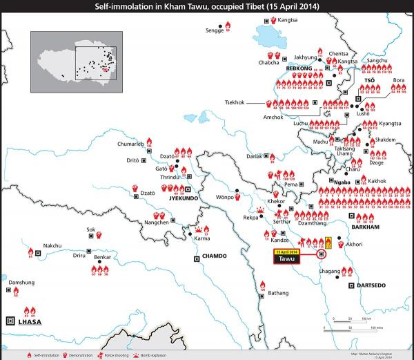 Map of restive areas in occupied Tibet, 15 April 2014