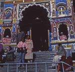 Photo of pilgrims leaving Badrinath temple