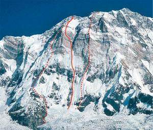 Annapurna South Face, showing Ueli Steck's route (solid line), 1970 British rout