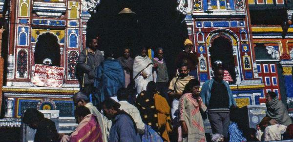 Photo of pilgrims at the entrance to Badrinath temple