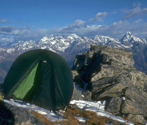 Photo of tent beside summit cairn, Pangarchula