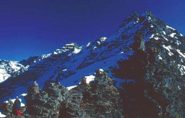 Photo of Julia on the summit of the Rupin Pass