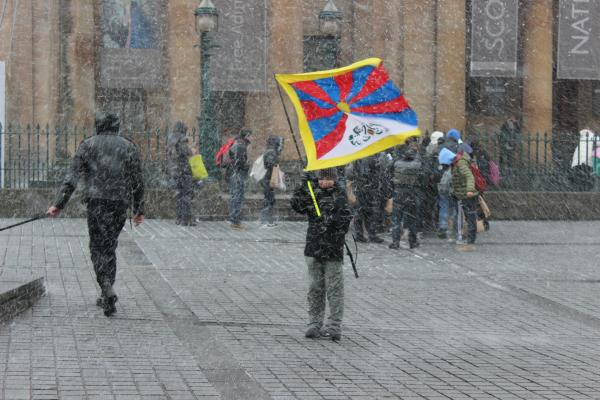 Protest in the snow, Tibetan National Uprising Day, Edinburgh, Scotland