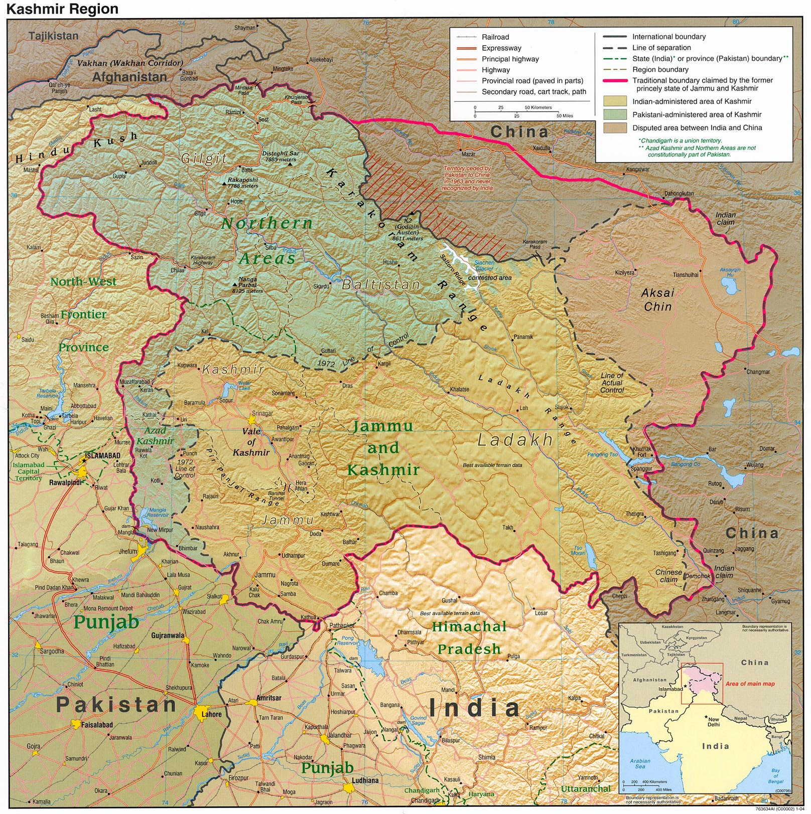Map Of The Kashmir Region Himalayan Images - World physical map hd pdf