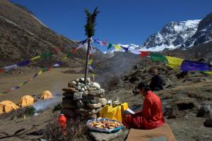 Puja ceremony at basecamp